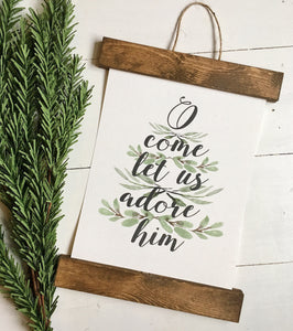 Christmas art/O come let us adore him/christmas decor/christmas wall art/wall art