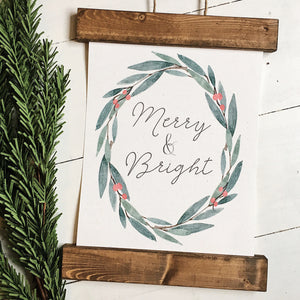 Christmas art/merry and bright/christmas decor/christmas wall art/wall art