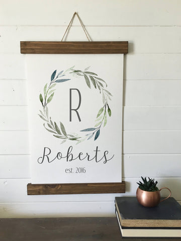 Custom name initial and est.date/canvas print/calligraphy sign/laurel wreath/framed art/picture frame/tabletop sign/home decor/wall art