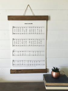Jesus loves me/sheet music/christian art/canvas print/framed art/picture frame/home decor/wall art