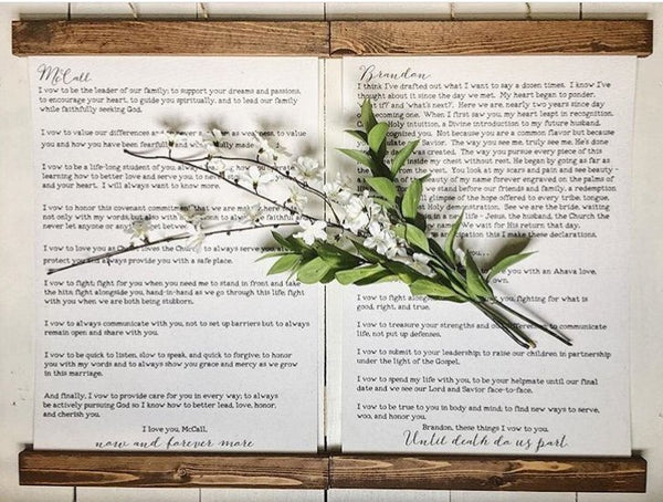 Custom wedding vows/wall art/canvas art print/wall art/canvas print/wall decor