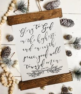 Christmas art/glory to god in the highest/christmas decor/christmas wall art/wall art/farmhouse art/luke 2:14