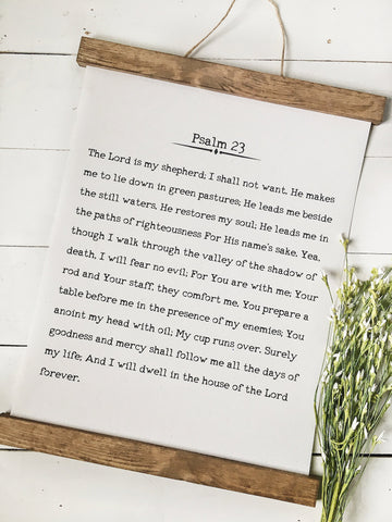 Psalm 23/wall art/bible verse art/canvas print/wall decor/