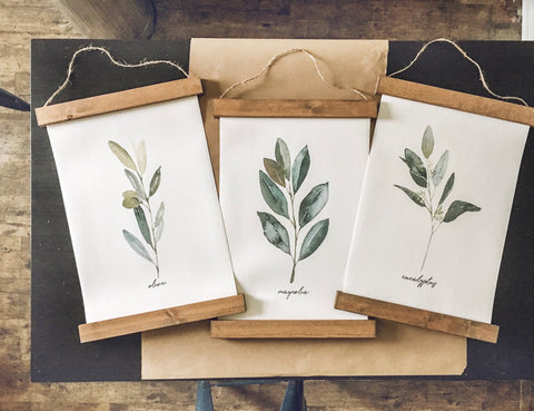 Eucalyptus olive magnolia prints/tree branch print set/botanical wall art/canvas art print/wall art/home decor