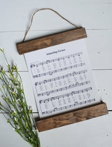 amazing grace sheet music/wall art/music notes/christian art/canvas print/framed art/picture frame/home decor/wall art