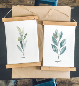 Olive and Magnolia/tree branch print set/botanical wall art/canvas art print/wall art/home decor