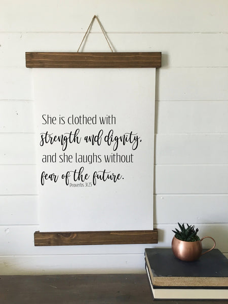 Proverbs 31:25/she is clothed/laughs without fear/wall art/canvas print/canvas wall art/wall decor