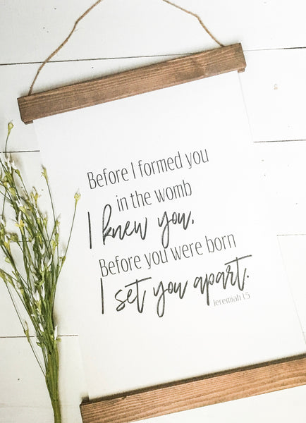 before I formed you in the womb/Jeremiah 1:5/wall art/canvas print/wall decor/nursery decor/nursery wall art /nursery decor/