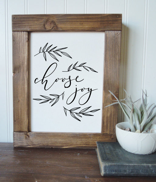 Choose joy/botanicals/framed art/tabletop sign/home decor/wall art