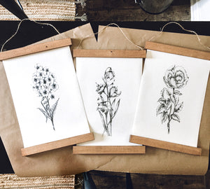 Botanical prints/flower print/black and white print set/botanical wall art/canvas art print/wall art/home decor