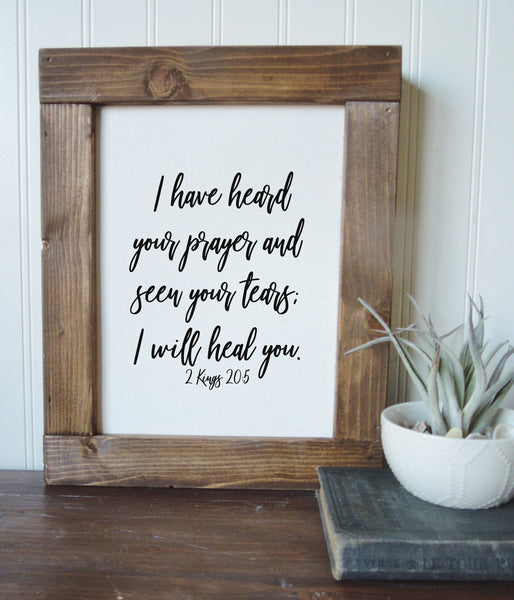 I will heal you/2 Kings 20:5/canvas art print/wall art/canvas print/wall decor