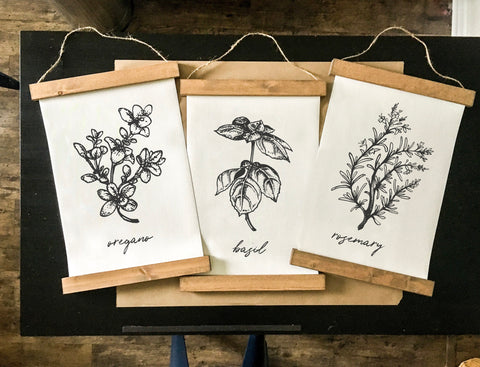 Botanical prints/herbs print/rosemary/oregano/basil/black and white print set/botanical wall art/canvas art print/wall art/home decor