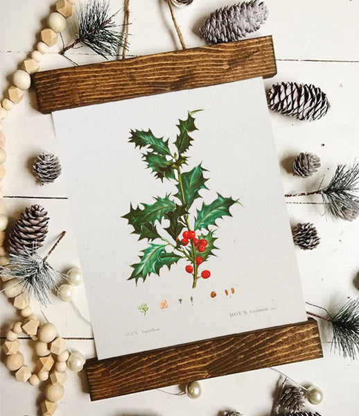 Christmas art/holly art/pine art/christmas decor/christmas wall art/wall art/vintage art/farmhouse art