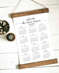 Calendar 2020/adventure begins/wall calendar/calendar/wall art/canvas print/wall decor