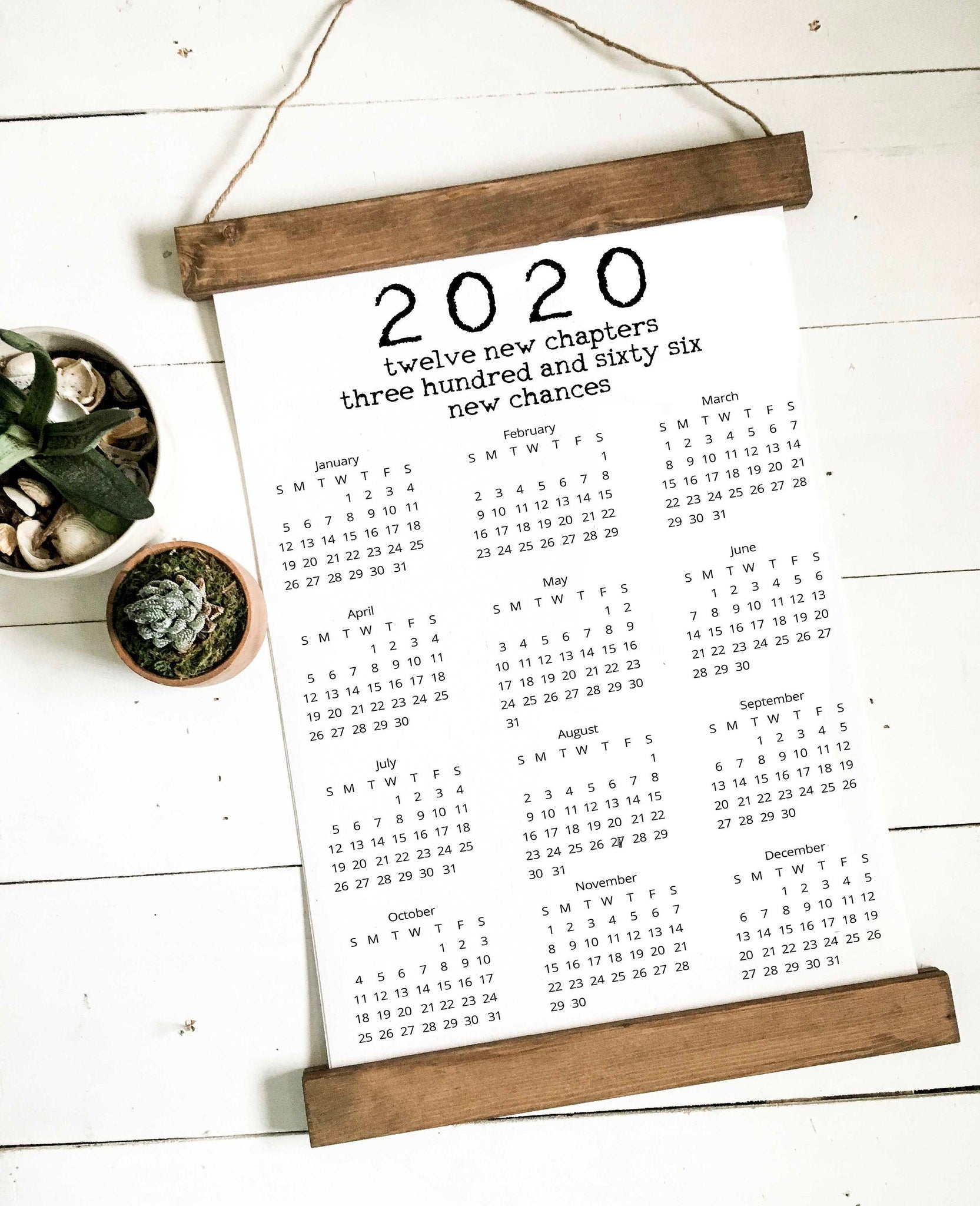 Calendar 2020/wall calendar/new chances/calendar/wall art/canvas print/wall decor