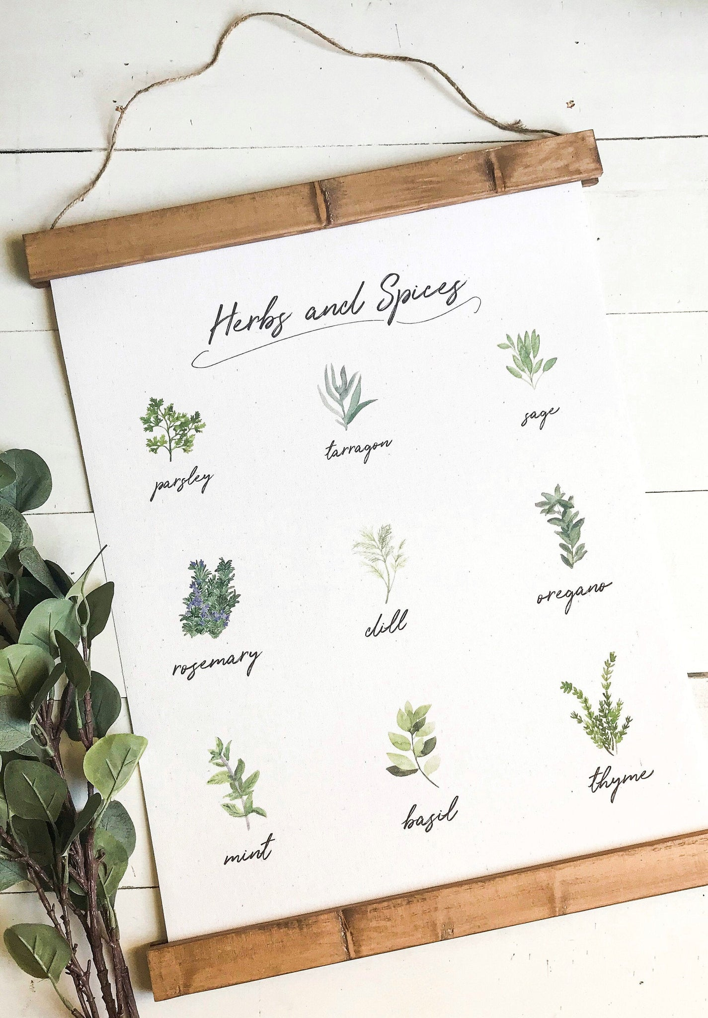 herb chart print/herbs and spices drawings/botanical wall art/canvas art print/wall art/home decor
