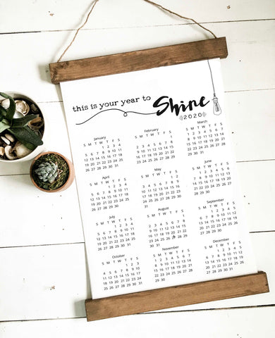 Calendar 2019/wall calendar/time to shine/calendar/wall art/canvas print/wall decor
