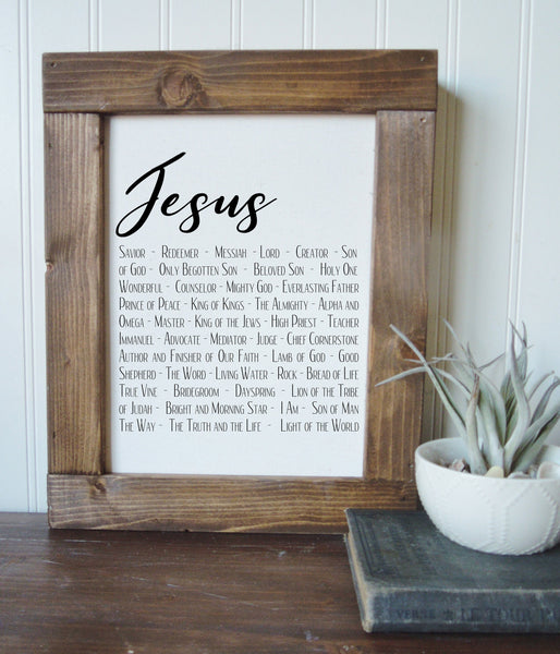 Jesus/names of jesus/religious/home decor/canvas wall art