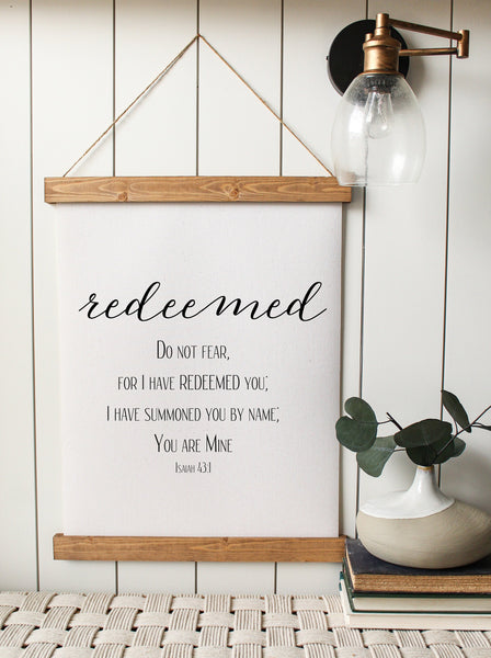 redeemed/isaiah 43:1/bible verse/home decor/canvas wall art