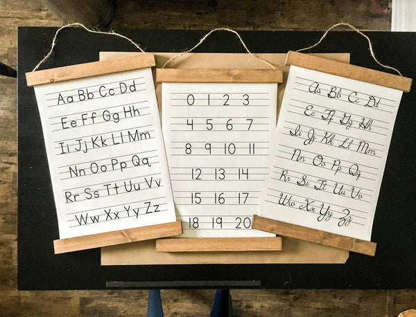 Alphabet set/cursive and numbers/manuscript/nursery art/schoolroom art/canvas art print/canvas print/wall decor/set of 3/wall art