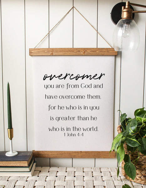 overcomer/1 John 4:4/greater than he that is the world/bible verse/home decor/canvas wall art
