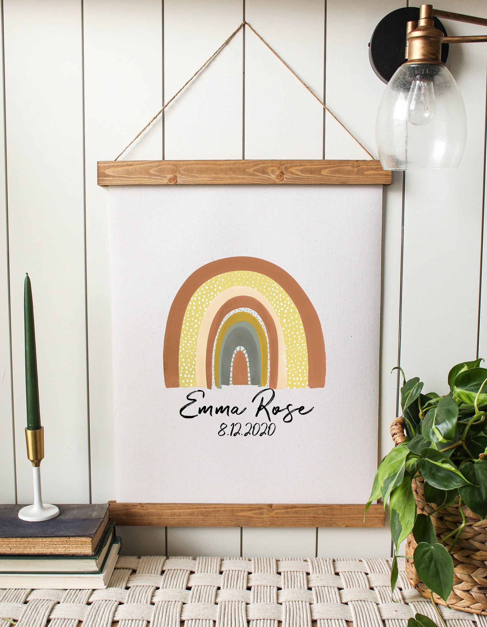 Rainbow print/name print/rainbow with name print/rainbow baby/canvas art print/wall art/canvas print/wall decor
