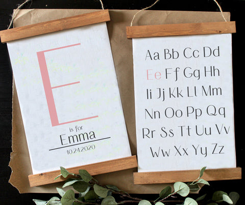 Alphabet with initial print/name print/nursery art/schoolroom art/canvas art print/wood sign/canvas print/wall decor/set of 2/wall art