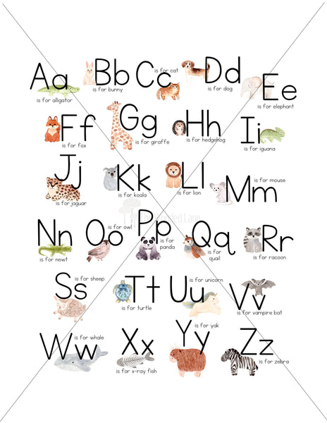 Alphabet with animals/nursery art/schoolroom art/canvas art print/wood sign/canvas print/wall decor/set of 2/wall art