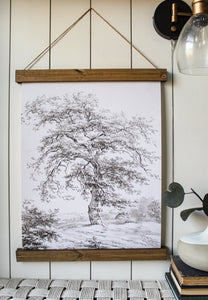 Vintage painting print/framed canvas art print/landscape/tree art print/black and white art print/home decor/canvas art
