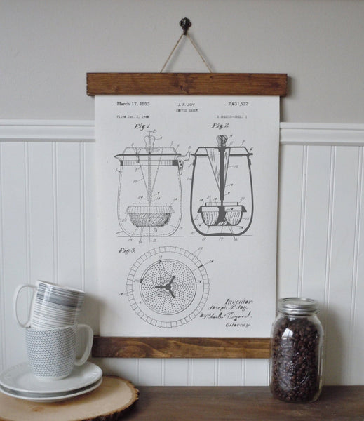 Coffee art/vintage coffee patent/coffee bar/canvas wall art/wall art/vintage art/farmhouse/industrial