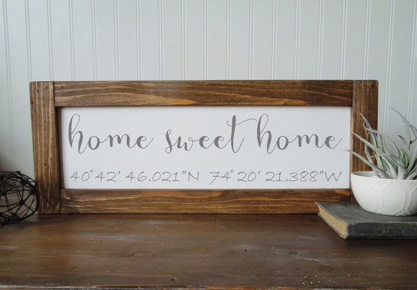 Coordinates sign/home sweet home/calligraphy sign/canvas print/framed art/picture frame/tabletop sign/home decor/wall art