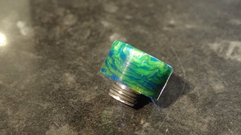 "510 Curved Drip tip in custom ""Sea Slime"" acrylic"