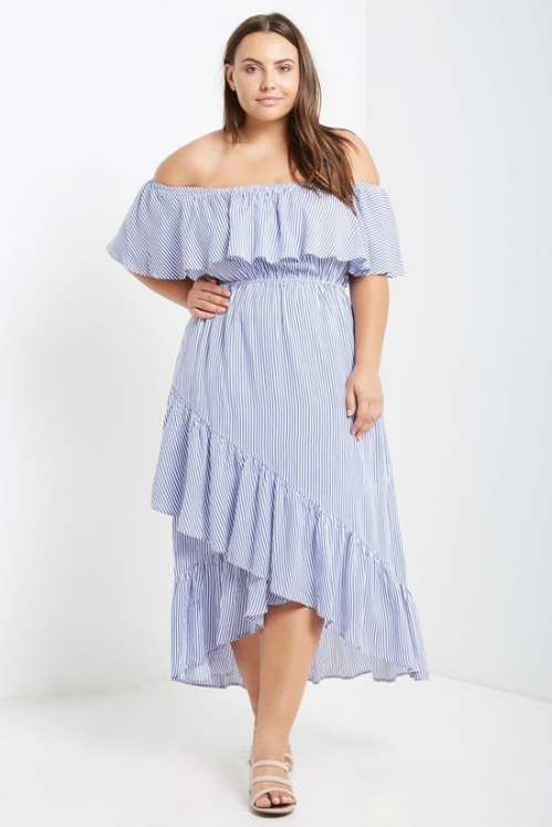 Savannah Blue And White Striped Off The Shoulder Ruffle Maxi Dress
