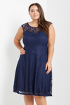 Miranda Navy Lace Fit And Flare Dress