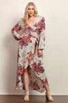 Maddie Long Sleeve Floral Maxi Dress - Sand