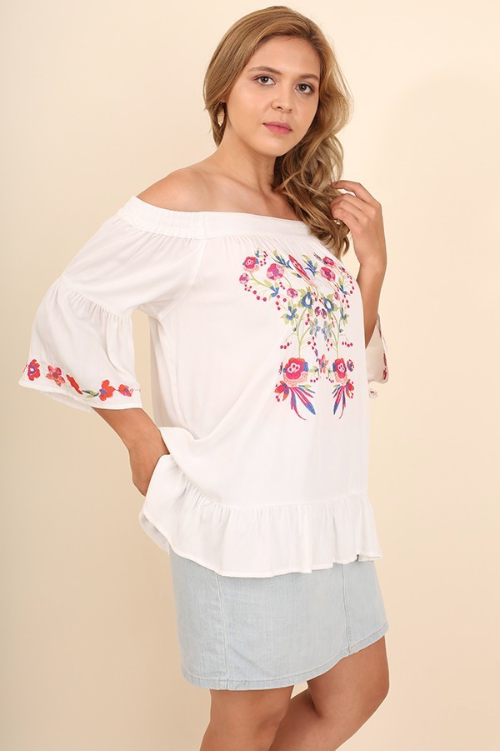 Vintage Love Collection - Off The Shoulder Embroidered Top - White