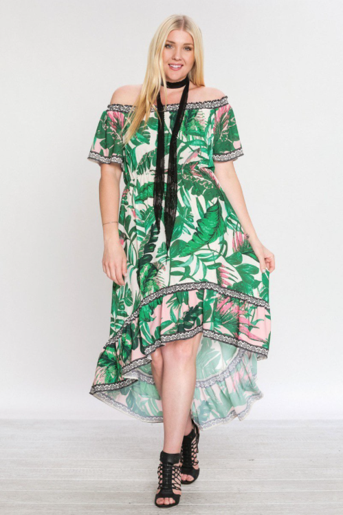 Palms For Days Off Shoulder High Low Maxi Dress