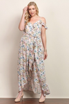 Emily Cold Shoulder Floral Maxi Dress With Tulip Skirt