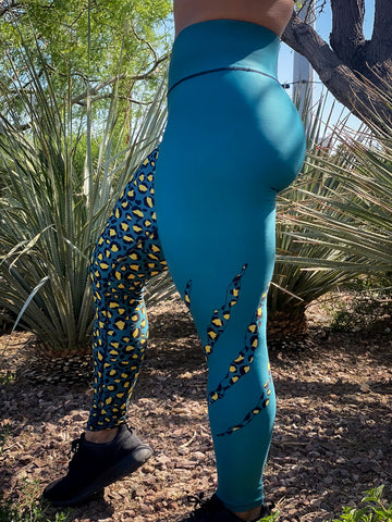 Green & Gold Leopard Print Leggings