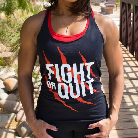 Women's Fight or Quit Logo Tank Black & Red