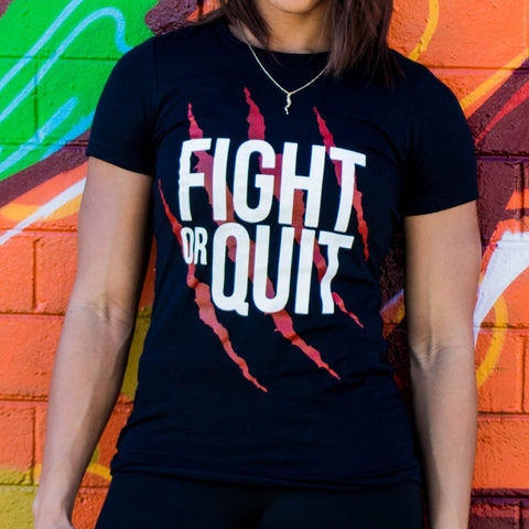 Women's Fight or Quit Logo Tee Black & Red