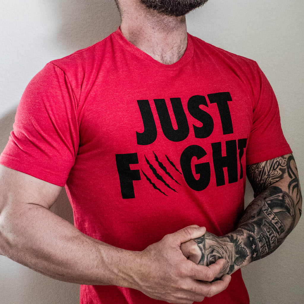 Men's Just Fight Tee Black & Red