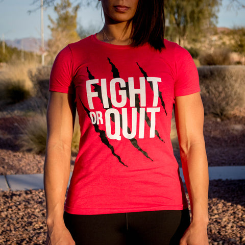 Women's Fight or Quit Logo Tee Red