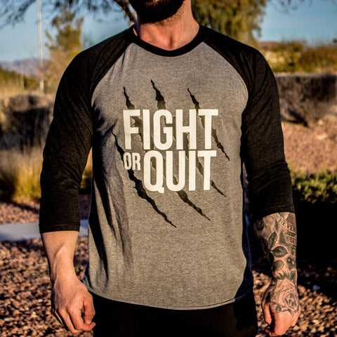 Men's Fight or Quit Logo 3/4 Sleeve Reglan Vintage Black