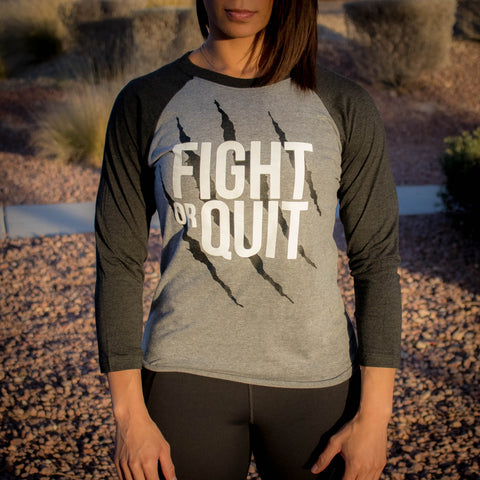 Women's Fight or Quit Logo 3/4 Sleeve Reglan Vin/Heather (UNISEX)