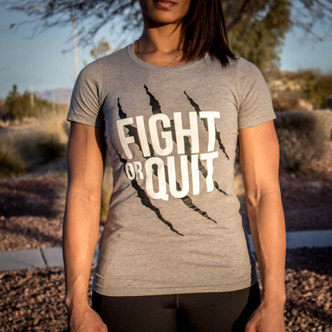 Women's Fight or Quit Logo Tee Black and Gray