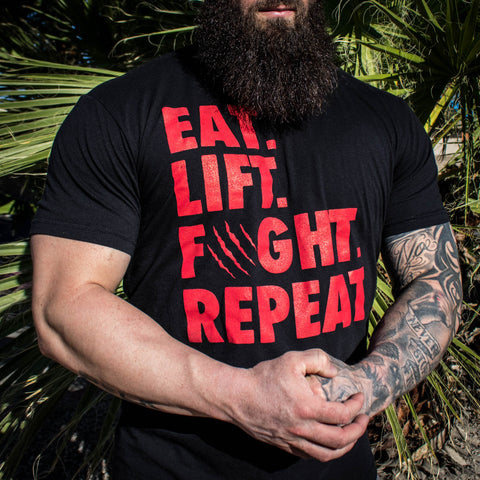Men's Eat Lift Fight Repeat Tee