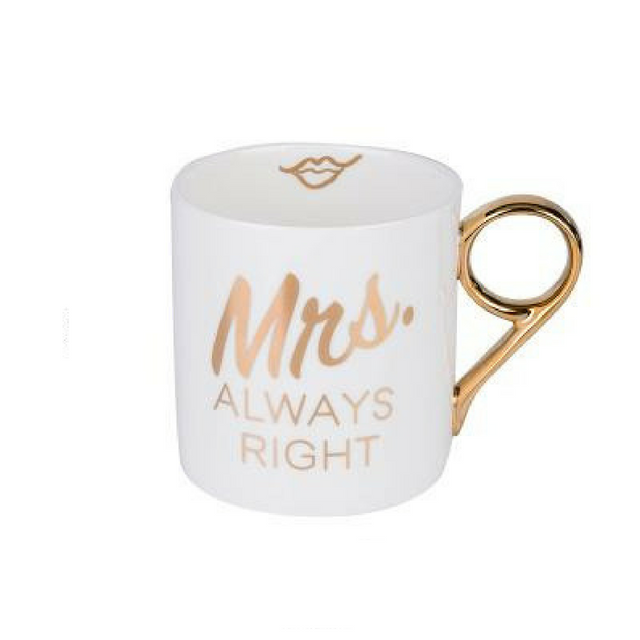 Mrs. Always Right Porcelain Coffee Mugs