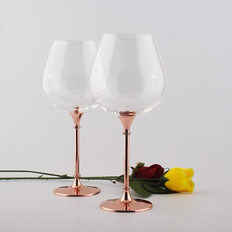 Rose Gold Stem Red Wine Glass