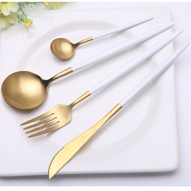 Luxury White/Gold Flatware